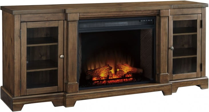 Pleasing Flynnter Medium Chestnut Brown Xl Tv Stand With Infrared Fireplace Insert Complete Home Design Collection Barbaintelli Responsecom