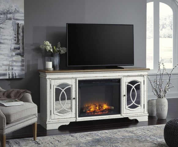 Awesome Realyn Chipped White Xl Tv Stand With Lg Infrared Fireplace Insert Complete Home Design Collection Barbaintelli Responsecom