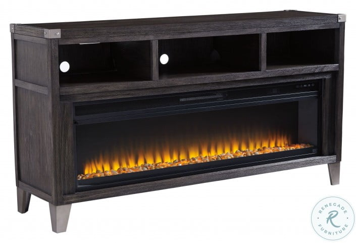 Todoe Gray Lg TV Stand With Wide Fireplace Insert