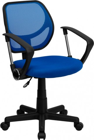 Mid-Back Blue Task Chair and Computer Chair with Arms