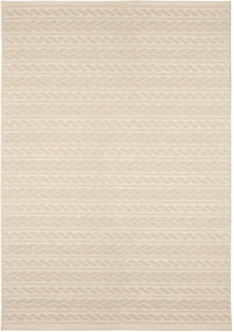 Jersey Home Indoor/Outdoor Knit Cableknots Ivory Small Area Rug