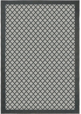 Jersey Home Indoor/Outdoor Squares Fusion Trellis Charcoal Small Area Rug