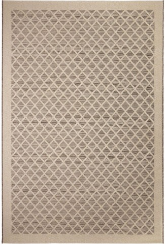 Jersey Home Indoor/Outdoor Squares Fusion Trellis Tan Small Area Rug