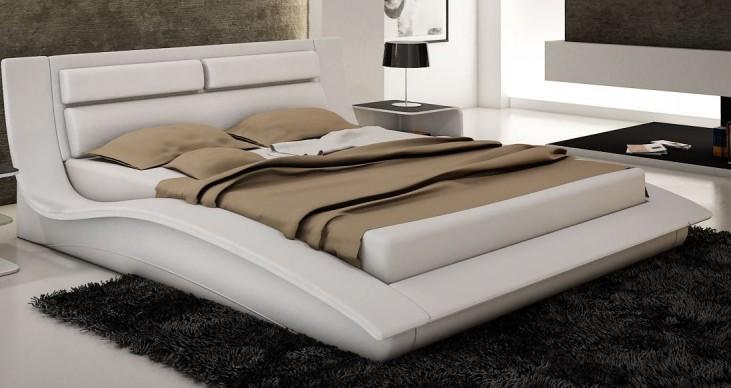 Wave White King Platform Bed