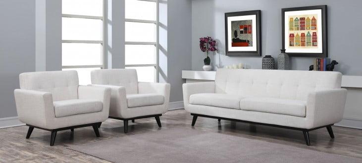 James Beige Linen Living Room Set