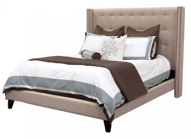 Weston Espresso Oatmeal Linen Queen Platform Bed