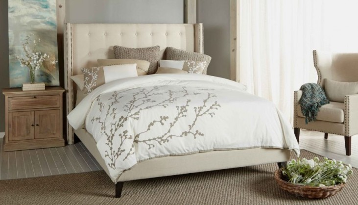 Weston Espresso Oatmeal Linen Platform Bedroom Set
