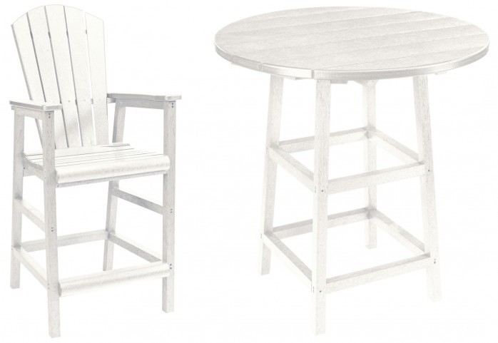 "Generations White 32"" Round Leg Pub Set"
