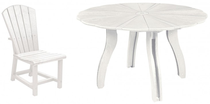 """Generations White 52"""" Scalloped Round Dining Room Set"""