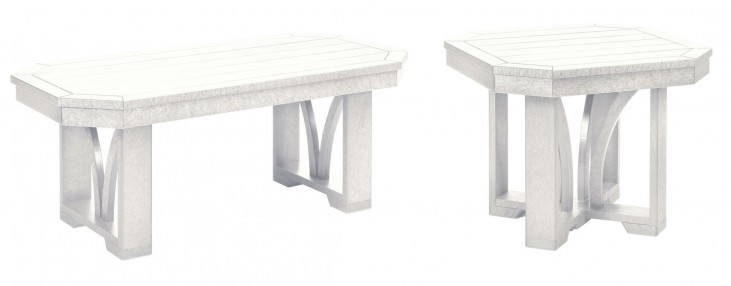 """St Tropez White 42"""" Occasional Table Set"""