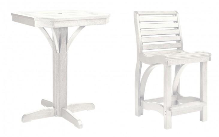 "St Tropez White 28"" Square Counter Pedestal Dining Room Set"