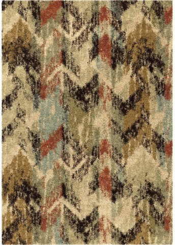 Orian Rugs Plush Blended Lines Distressed Chevron Multi Area Small Rug