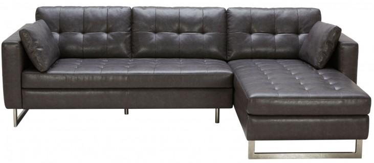 Wilson Ash Grey Leather Sofa Chaise