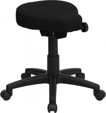 Black Height and Angle Adjustable Saddle Seat Utility Stool