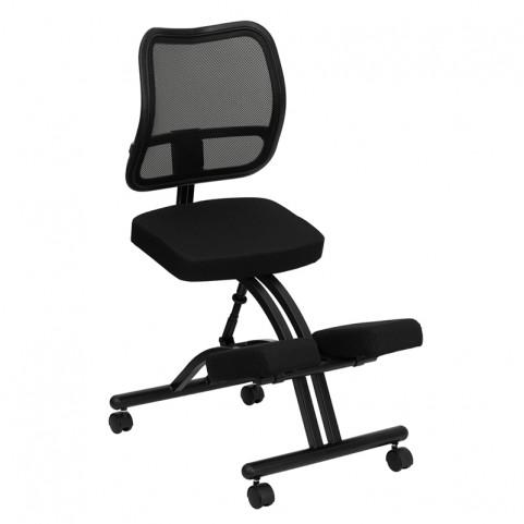 Black Ergonomic Kneeling Office Chair with Black Back