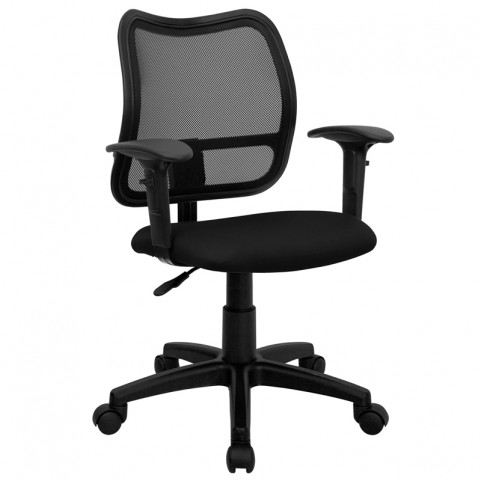 Mid-Back Task Chair with Thick Black Fabric Seat and Arms