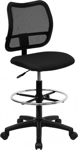 Mid-Back Drafting Stool with Thick Black Fabric Seat