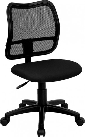 Mid-Back Task Chair with Thick Black Fabric Seat