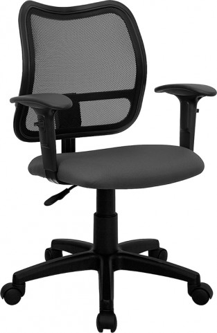 Mid-Back Task Chair with Thick Gray Fabric Seat and Arms