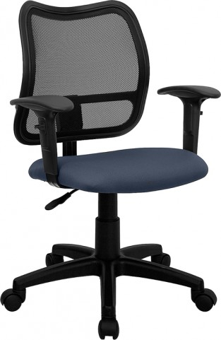 Mid-Back Task Chair with Navy Blue Fabric Seat and Height Adjustable Arms