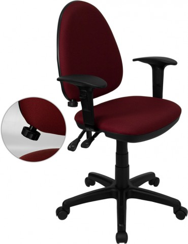 Burgundy Multi Functional Task Chair with Arms and Adjustable Lumbar Support