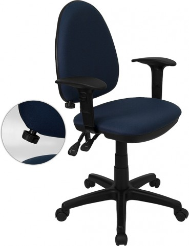 Navy Blue Multi Functional Task Chair with Arms and Adjustable Lumbar Support