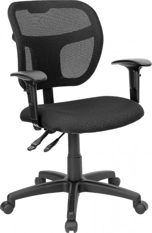 Mid-Back Task Chair with Black Fabric Seat and Arms