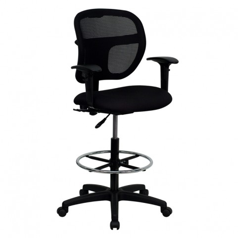 Mid-Back Drafting Stool with Fabric Seat and Arms