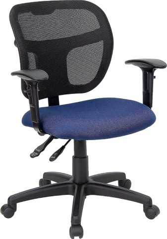 Mid-Back Task Chair with Navy Blue Fabric Seat and Arms