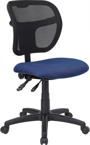 Mid-Back Task Chair with Navy Blue Fabric Seat