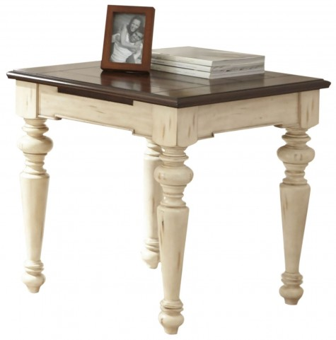 Wesley Antique White and Walnut Square End Table