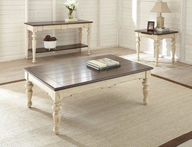 Wesley Antique White and Walnut Occasional Table
