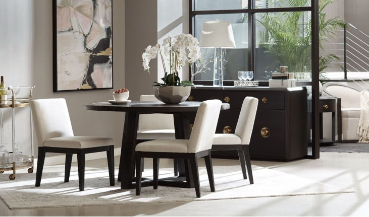 Magnificent True Modern Minimalist Tuxedo Black Round Dining Table Bralicious Painted Fabric Chair Ideas Braliciousco