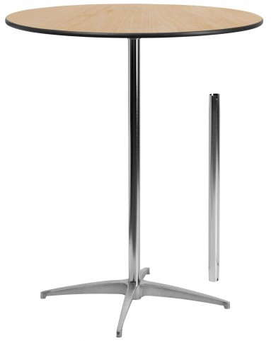 """36"""" Round Wood Cocktail Table with 30"""" and 42"""" Columns"""