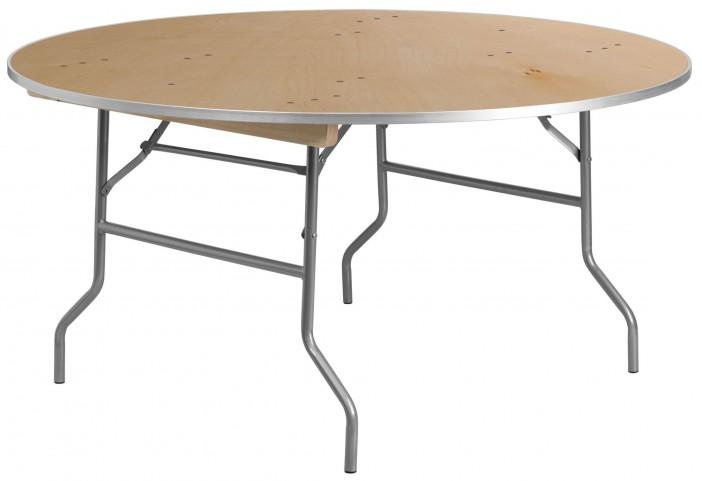 "60"" Round Heavy Duty Birchwood Folding Banquet Table"