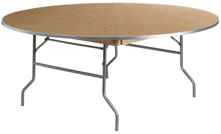 "72"" Round Heavy Duty Birchwood Folding Banquet Table"