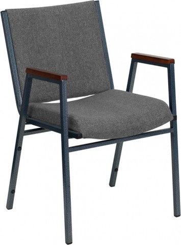 Hercules Heavy Duty, 3'' Thickly Padded, Gray Fabric Upholstered Stack Chair with Arms