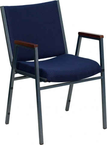 Hercules Heavy Duty, 3'' Thickly Padded, Navy Patterned Upholstered Stack Chair with Arms
