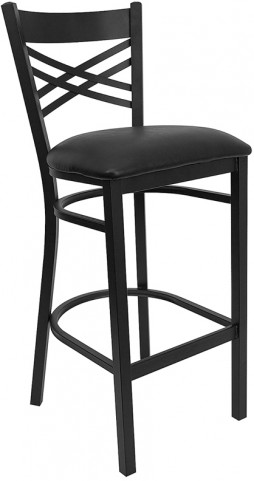 Hercules Black ''X'' Back Metal Restaurant Bar Stool Black Vinyl Seat