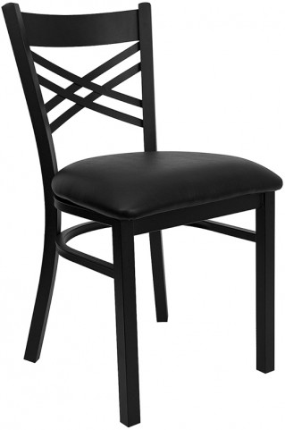 Hercules Black ''X'' Back Metal Restaurant Chair - Black Vinyl Seat