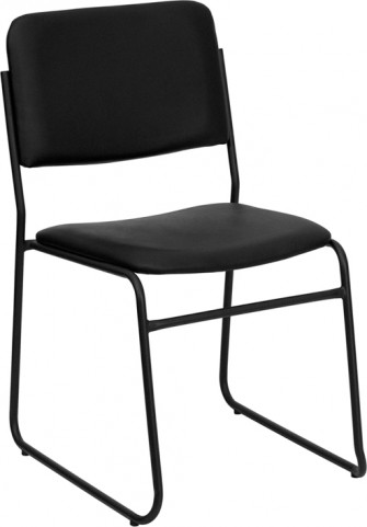 Hercules High Density Black Vinyl Stacking Chair with Sled Base