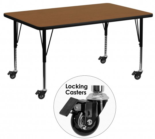 "Mobile 24"" Rectangular Pre-School Adjustable Height Oak Activity Table"
