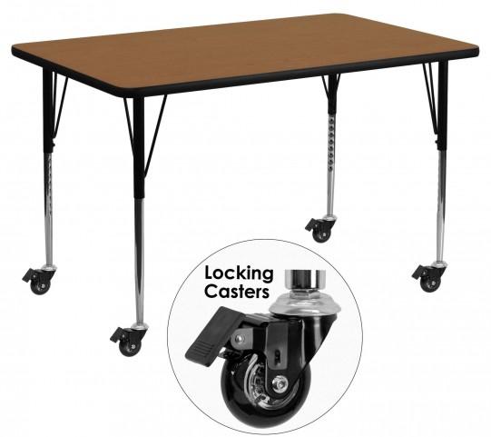 "Mobile 24"" Rectangular Oak Activity Table"