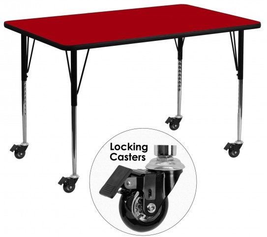 "Mobile 24"" Rectangular Red Activity Table"