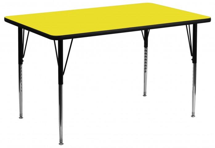 "24"" Rectangular Adjustable Height Yellow Activity Table"