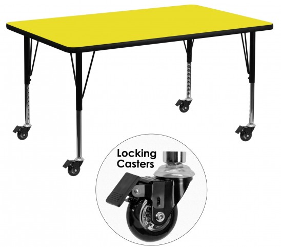 "Mobile 24"" Rectangular Pre-School Adjustable Yellow Activity Table"