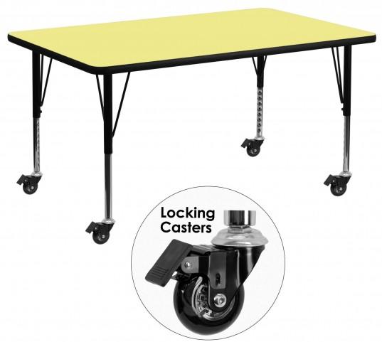 "Mobile 24"" Rectangular Pre-School Yellow Activity Table"