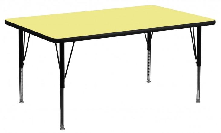 "24"" Rectangular Pre-School Yellow Activity Table"