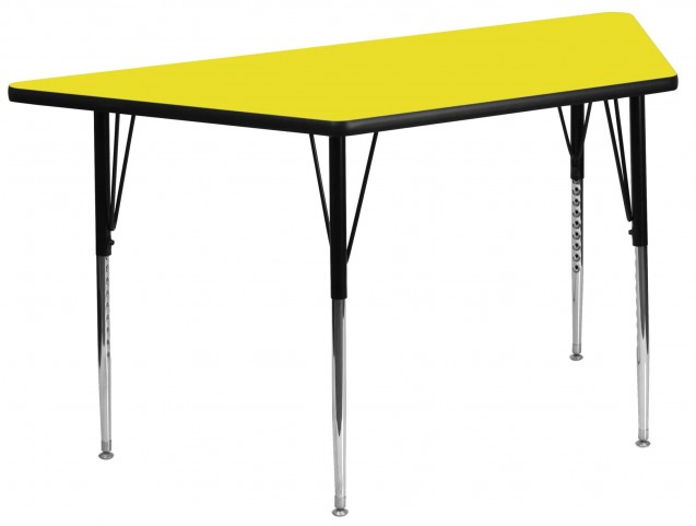"24"" Trapezoid Adjustable Height Yellow Activity Table"