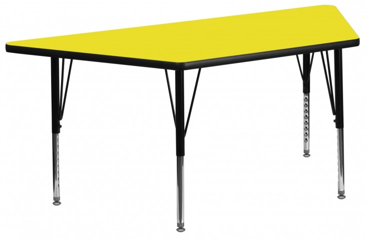 "24"" Trapezoid Pre-School Adjustable Height Yellow Activity Table"